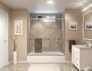 Semi-frameless bi-pass shower