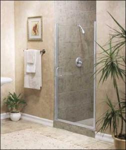 semi frameless hinged shower door